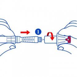 Insérer l'aiguille et tourner dans le sens inverse des aiguilles d'une montre
