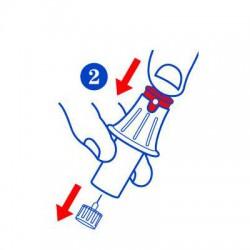Appuyer sur le bout rouge pour expulser l'aiguille